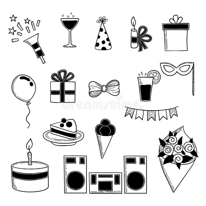Party icons. Events birthday celebrating symbols sweets hat salute cakes drinks vector doodle collection stock illustration