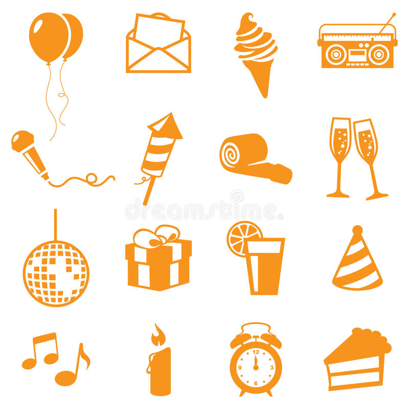 Party Icons. Gradient free and easy to change colour vector illustration