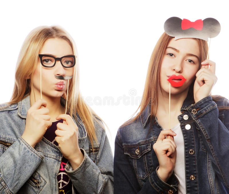 Party image. Best girls friends. royalty free stock photo