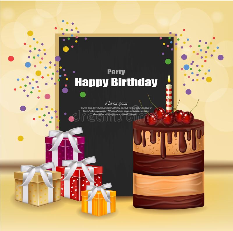 Party invitation card with giftbox, cake and balloons Vector. Happy Birthday text. celebrate events banner posters. Party invitation card with giftbox, cake and vector illustration