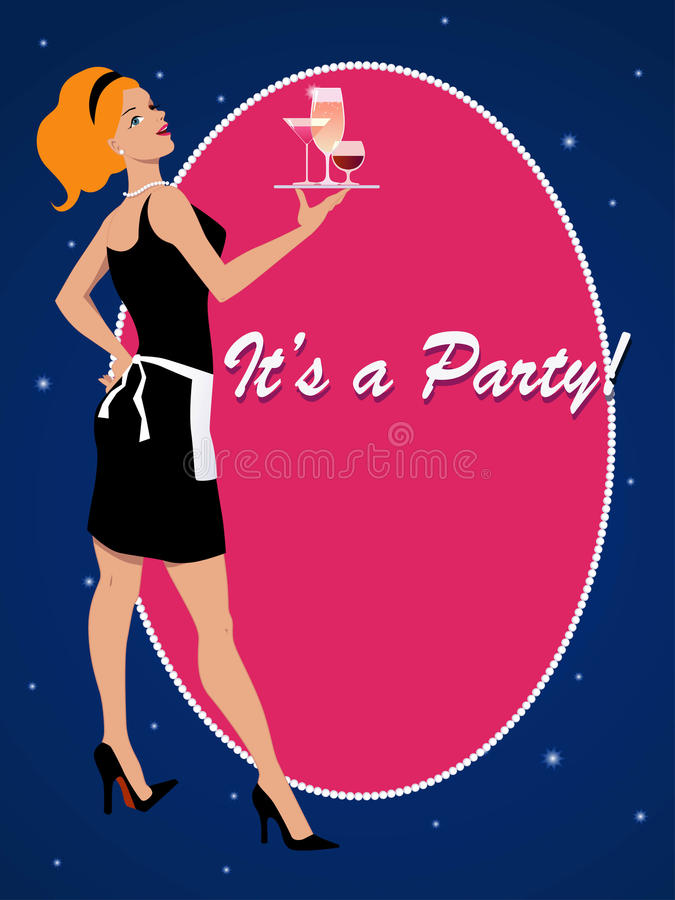 Download Party Invitation With A Cocktail Waitress Stock Vector - Image: 33965296