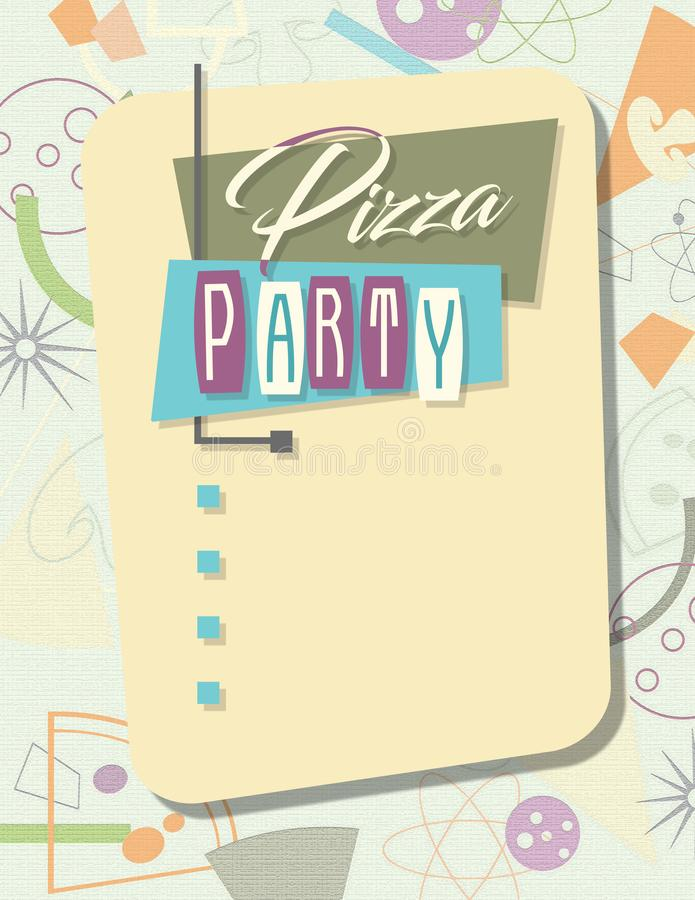 Party Invitation Pizza Retro stock illustration