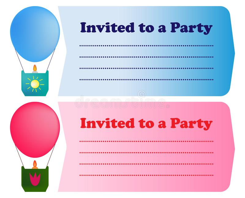 Party invitation template blue and blue with balloons vector illustration