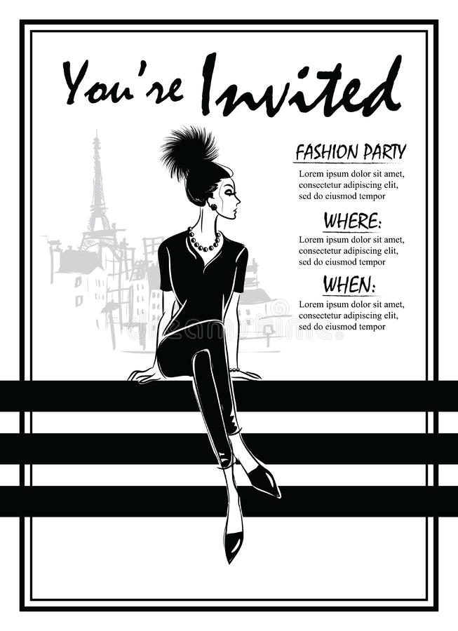 Party Invitations with fashion woman in sketch style. vector illustration