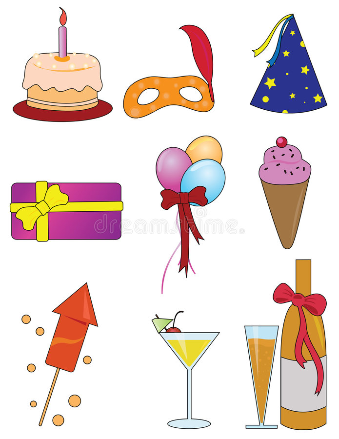 Download Party Items stock vector. Image of mask, cocktail, celebrate - 7615966
