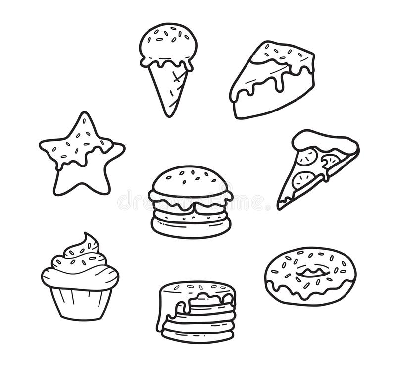 Party junk food lines cute drawing: pizza, cupcake, ice cream, gingerbread, burger, pancakes, donut, cake. Vector vector illustration