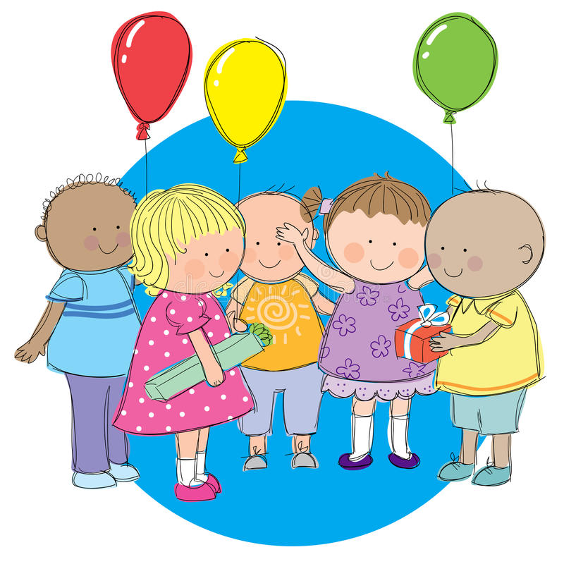 Party Kids. Hand drawn picture of children at a party, giving and receiving gifts. Illustrated in a loose style. Vector eps available vector illustration