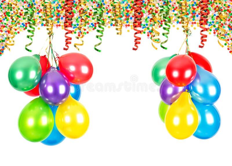 Party la decorazione Aerostati, coriandoli, tortuosi immagine stock