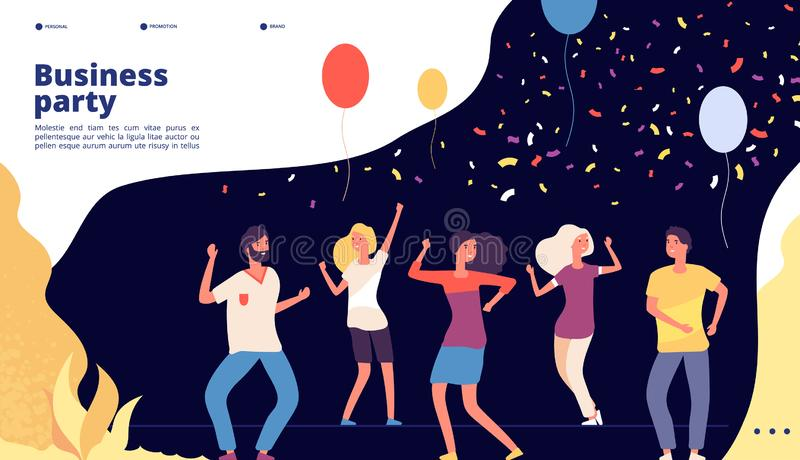 Party landing. Happy young persons dance, celebrate on corporate business party, joyful crowd dancing web page vector royalty free illustration