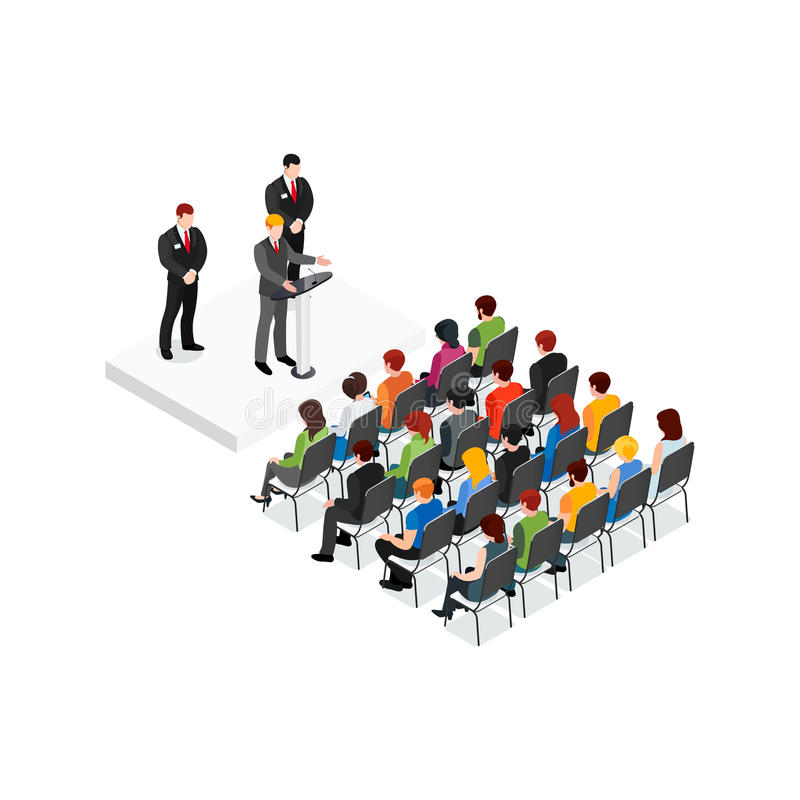 Party Meeting Isometric Design Concept stock illustration