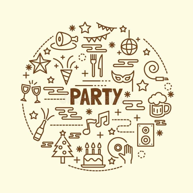 Party minimal thin line icons set stock illustration
