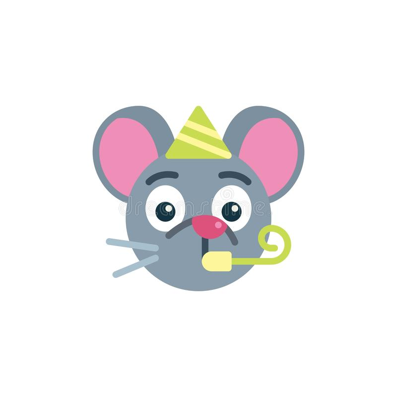Party mouse face emoji flat icon stock illustration
