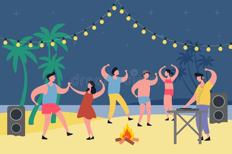 Night party at tropical beach. People dancing vector illustration