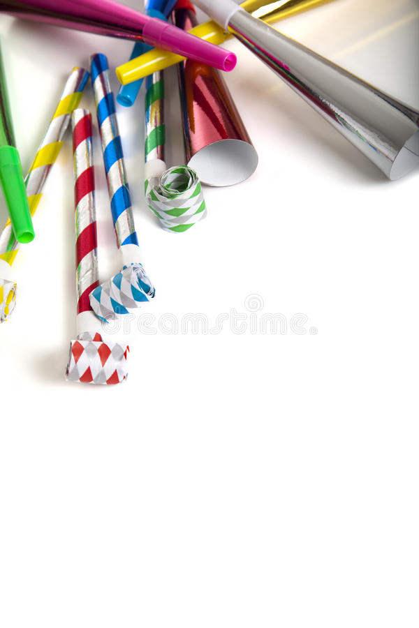 Party Noise Makers on white royalty free stock image
