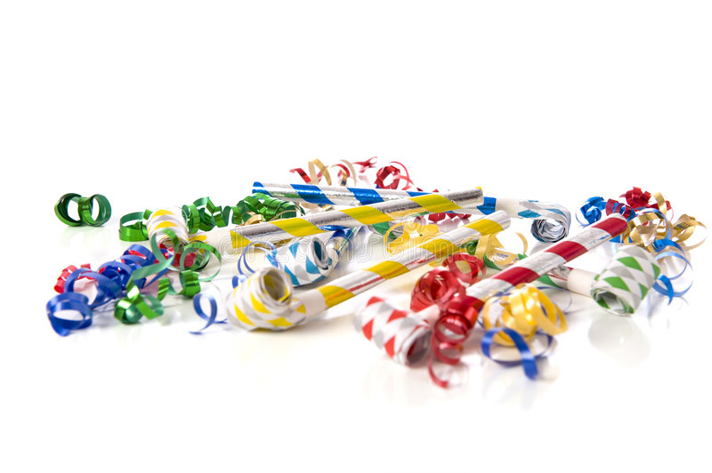 Party Noise Makers on White royalty free stock photography