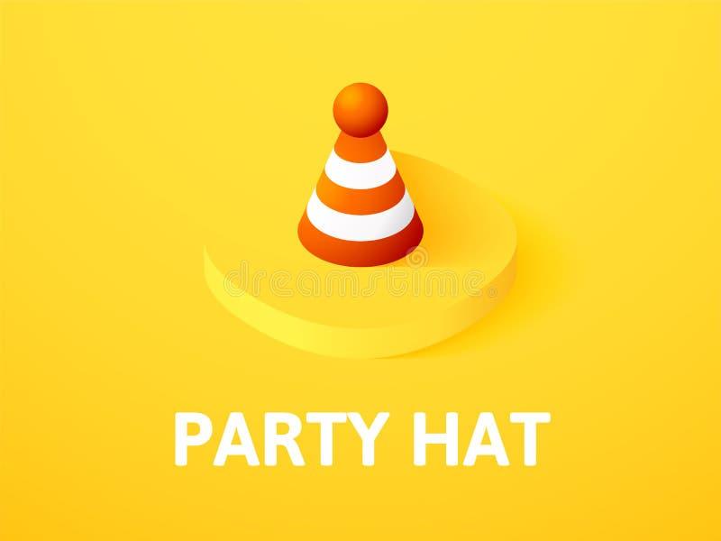 Party o ícone isométrico do chapéu, isolado no fundo da cor ilustração stock