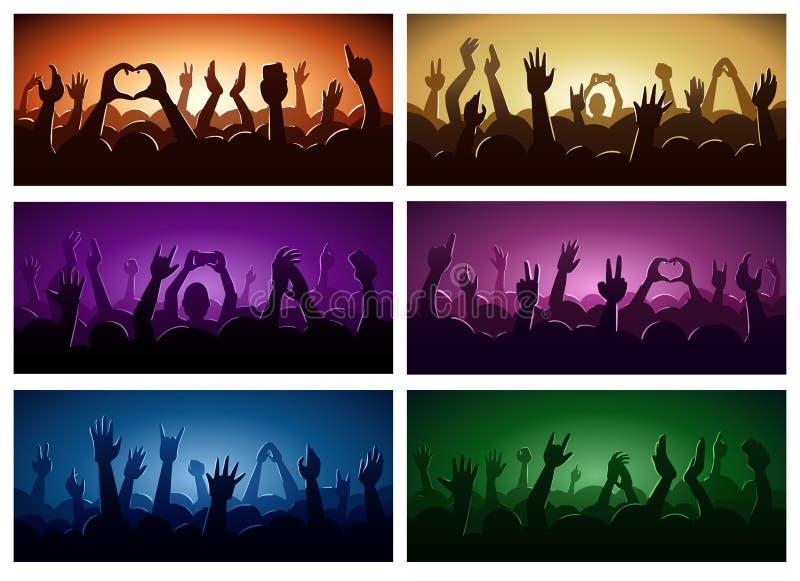 Party o festival ou o concerto humano de música da silhueta das mãos que fluem para baixo de cima da ilustração do vetor da zona  ilustração stock