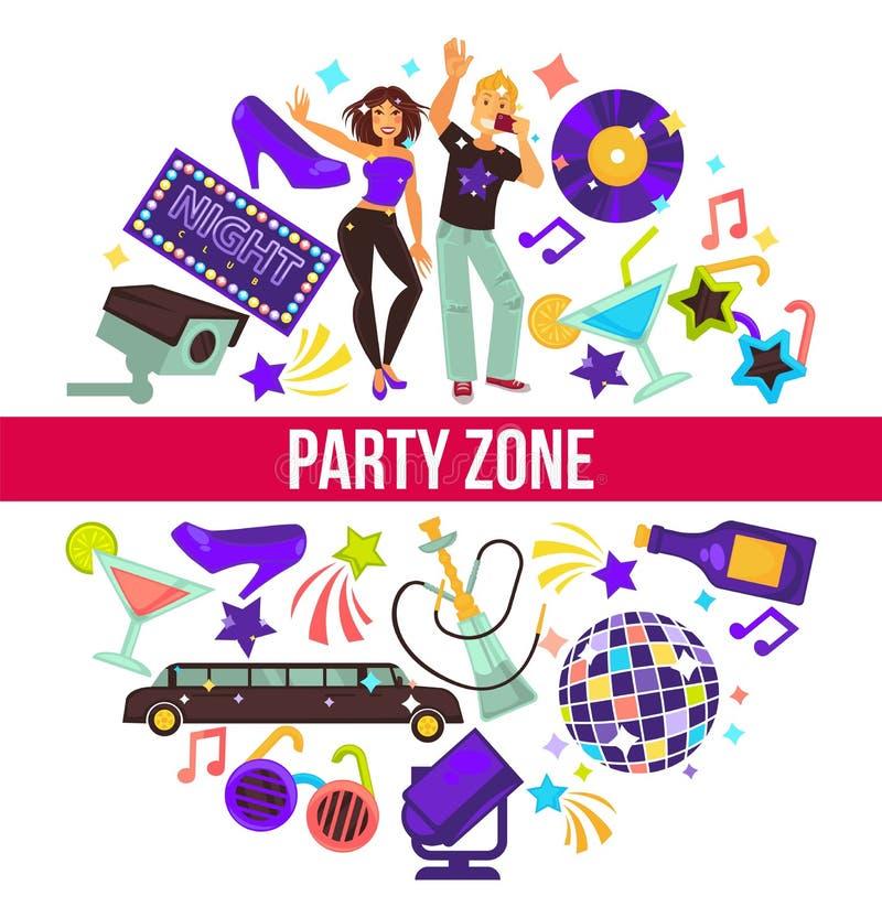 Party o homem e a mulher da zona no vetor do clube noturno ilustração royalty free