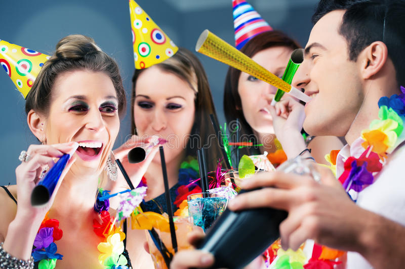 Party People in bar celebrating carnival stock photos