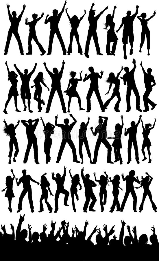 Party people and crowd stock illustration