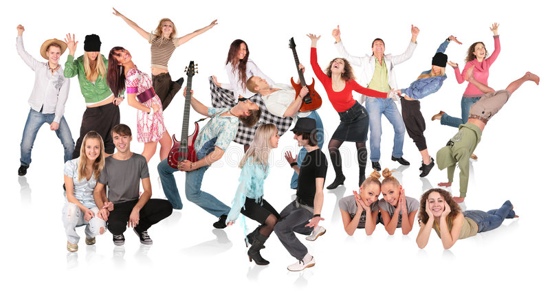 Party people, dancing group royalty free stock photos