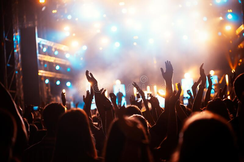 Party people enjoy concert at festival. Summer music festival royalty free stock images