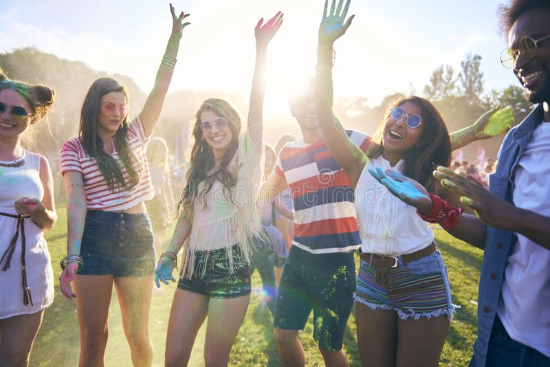 Party people having good time in festival stock photos