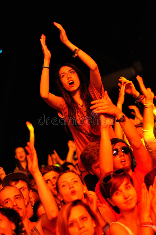 Party people during a live concert. BONTIDA - JUNE 19: Crowd of partying people during a live concert at Electric Castle Festival on June 19, 2014 in the Banffy stock images