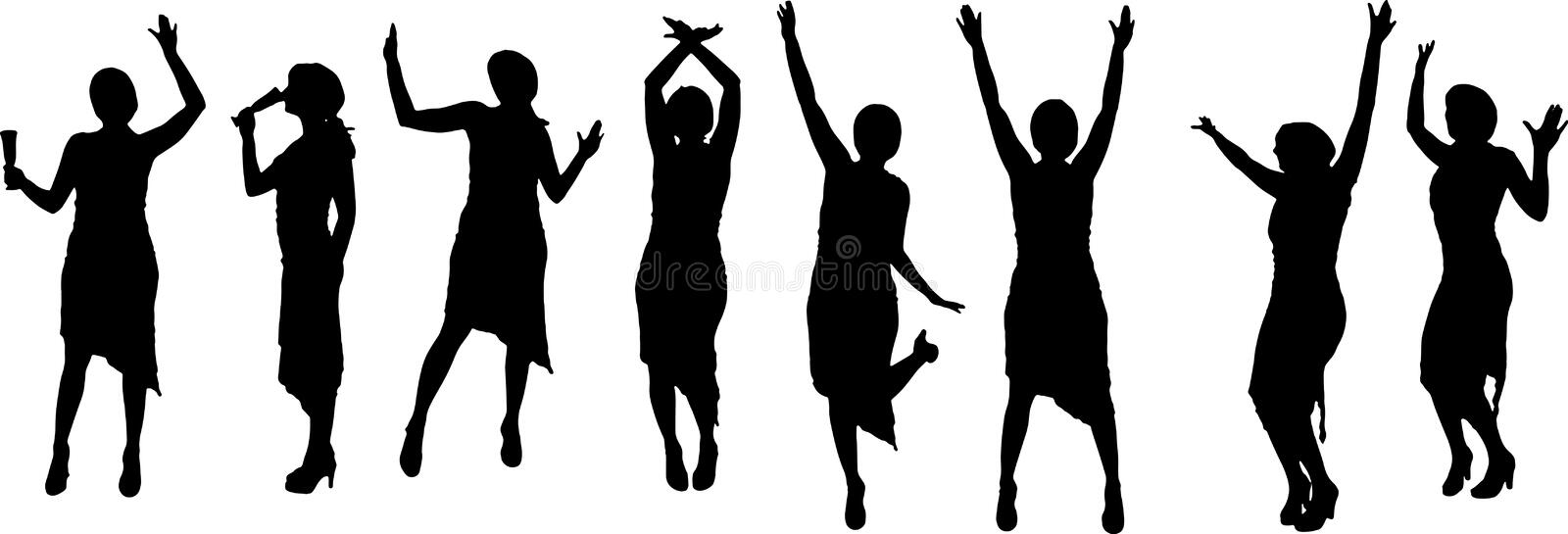 Party people. Vector party people black silhouette on white background stock illustration