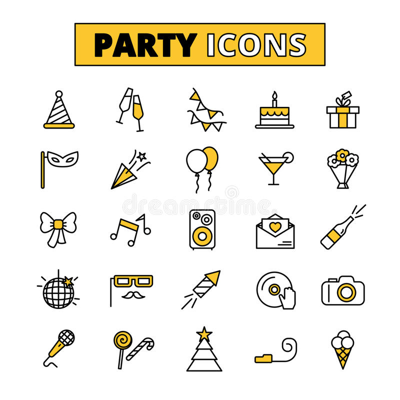 Invitation Party Wedding Free Vector Graphic On Pixabay: Party Pictograms Oitlined Icons Set Stock Vector