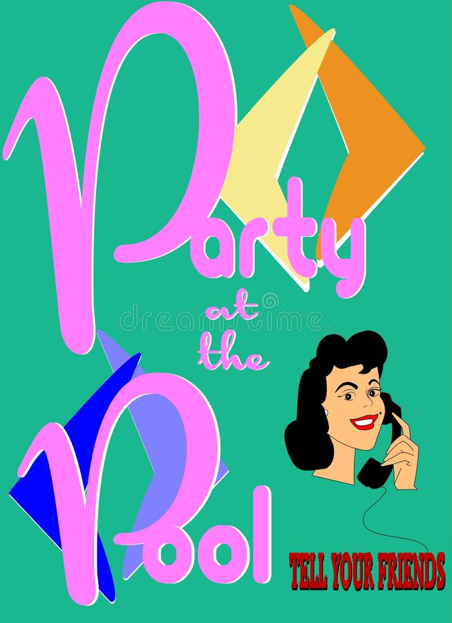 Party at the pool time vector illustration