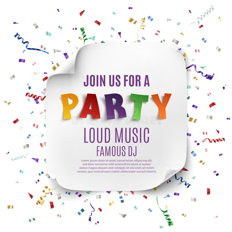 Party poster or background template. Party poster template with realistic curved banner on celebration background with colorful confetti and ribbons . Vector royalty free illustration