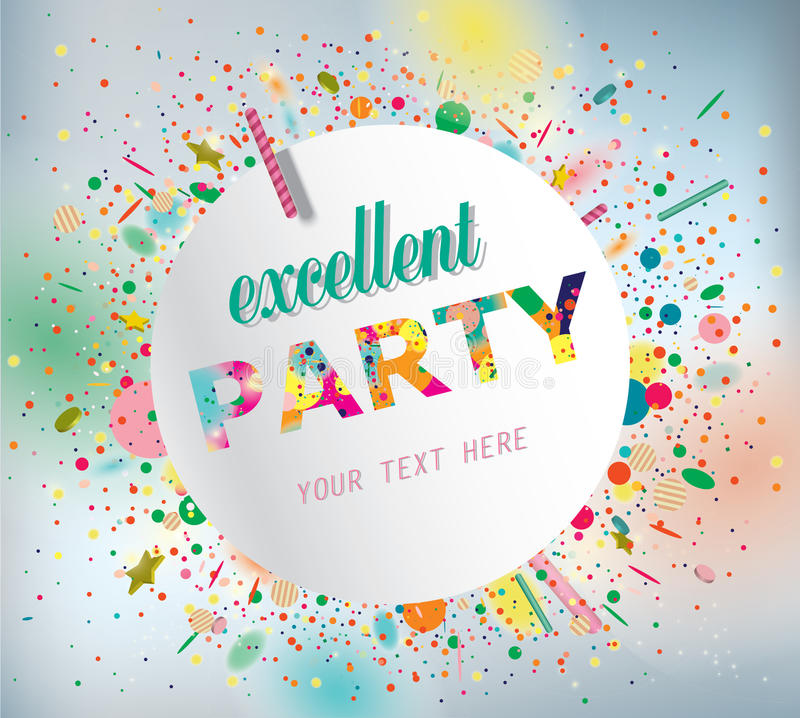 Party poster. Party poster with confetti. Vector royalty free illustration