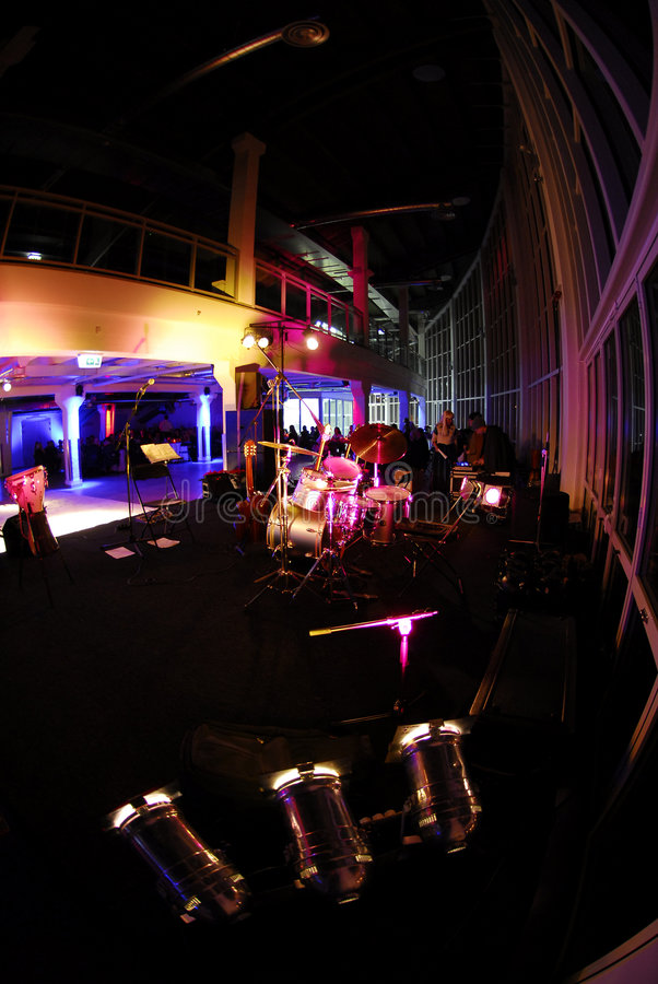Party preparations in hall. Fisheye view of a modern hall, preparations for a major party royalty free stock photography