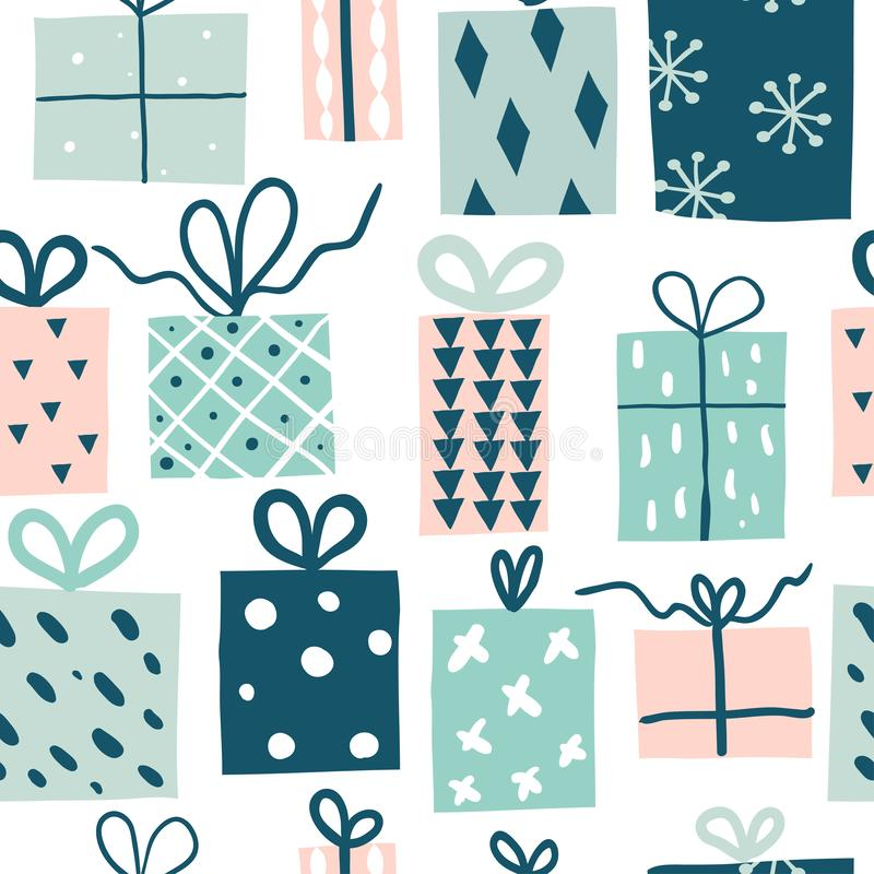 Party presents doodle colorful seamless pattern stock illustration