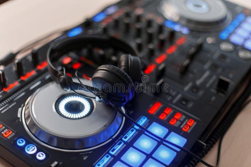 Party. Professional audio equipment with headphones, DJ mixer stock photo