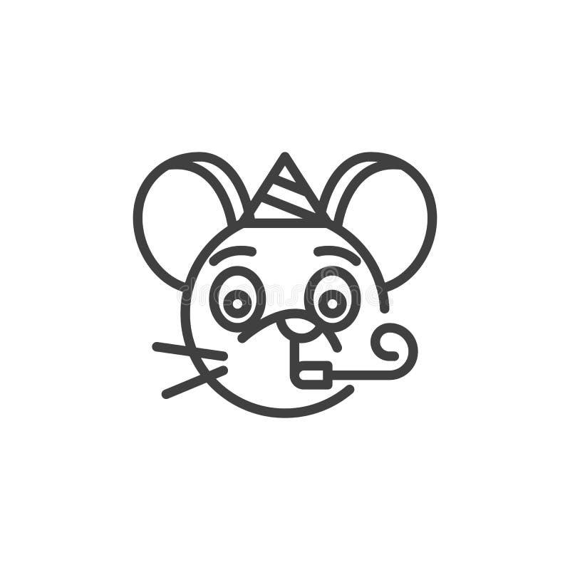Party rat emoticon line icon stock illustration
