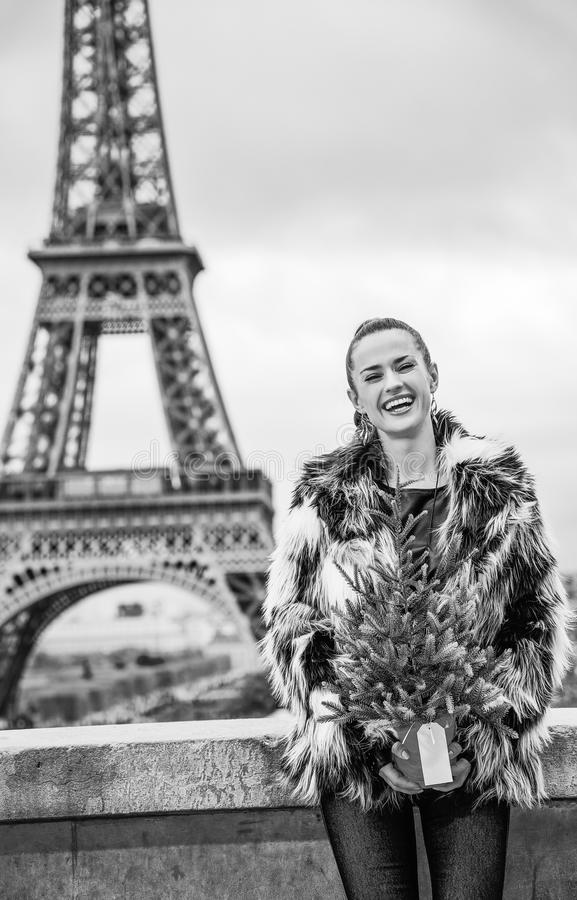 Woman with Christmas tree in front of Eiffel tower in Pari. The Party Season in Paris. Portrait of happy trendy woman with Christmas tree in fur coat in the stock photos