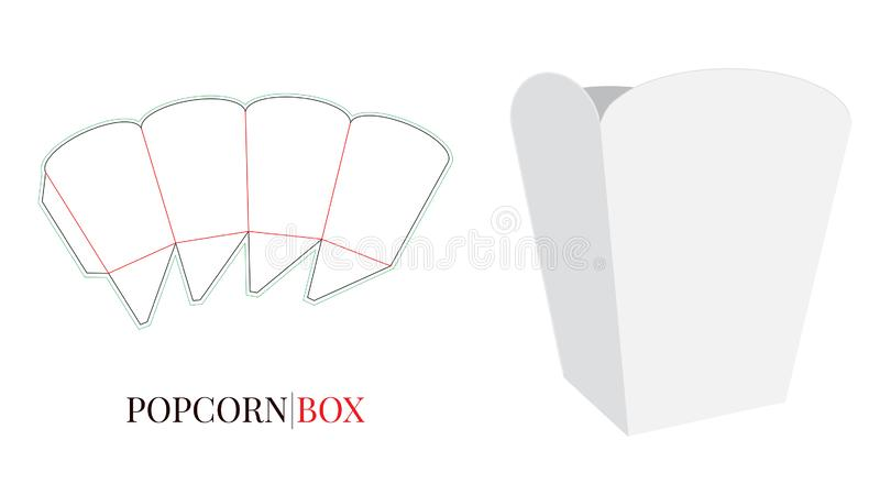 Popcorn Box Illustration. Vector with die cut layers. White, clear, blank, isolated on white background royalty free illustration