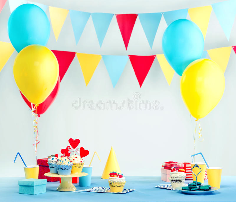 Party set. With decorations and sweets royalty free stock images