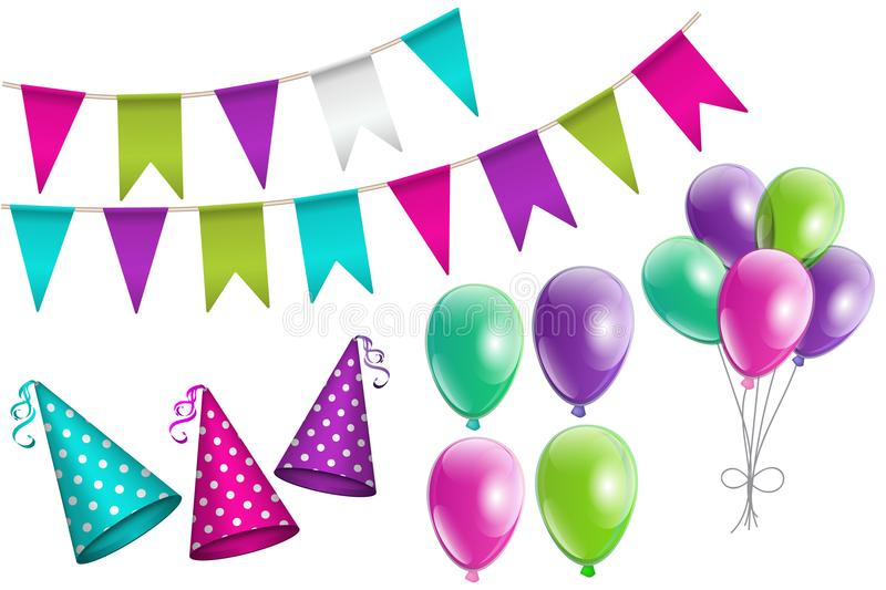 Party set of realistic bunting flags, party hats, balloons. Party set of realistic colorful bunting flags, dotted party hats with ribbon, glowing balloons. Set stock illustration