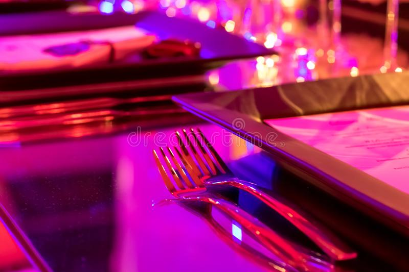 Party Setting with Colorful Bokeh Background royalty free stock images