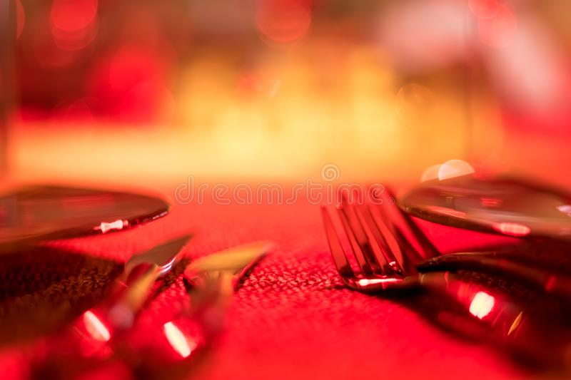 Party Setting with Colorful Bokeh Background stock photography