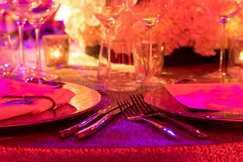 Party Setting with Colorful Bokeh Background royalty free stock photography