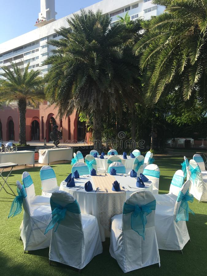 Party setting by the sea stock photography