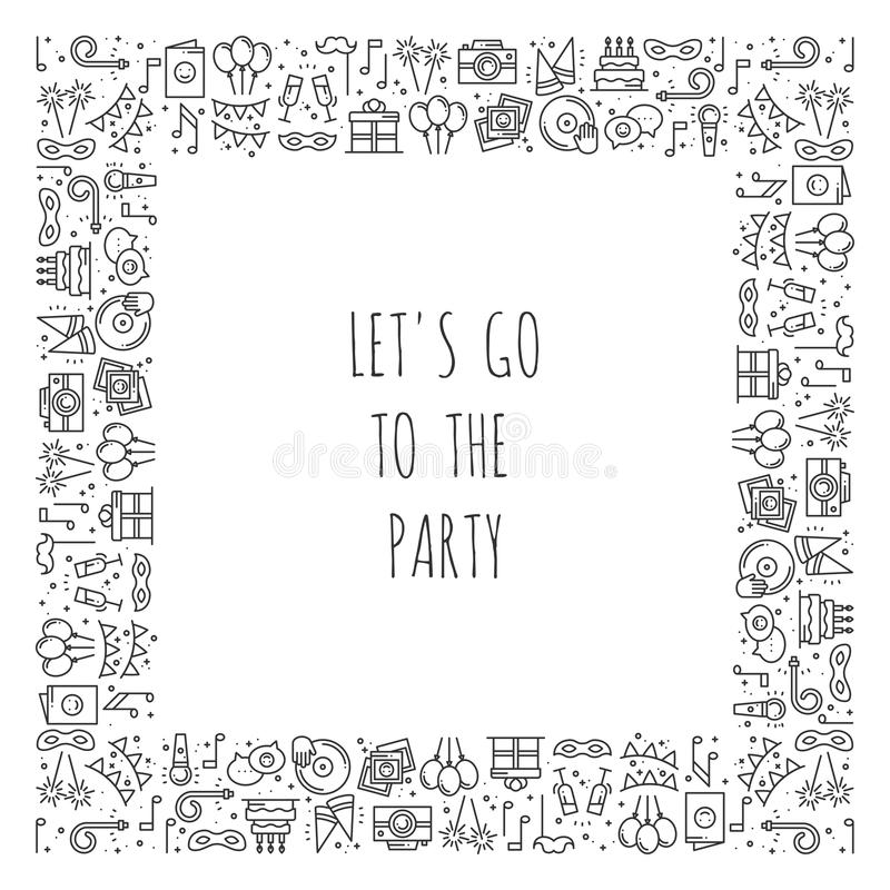 Party Square Frame. Celebration Pattern. Birthday, Holidays, Event ...