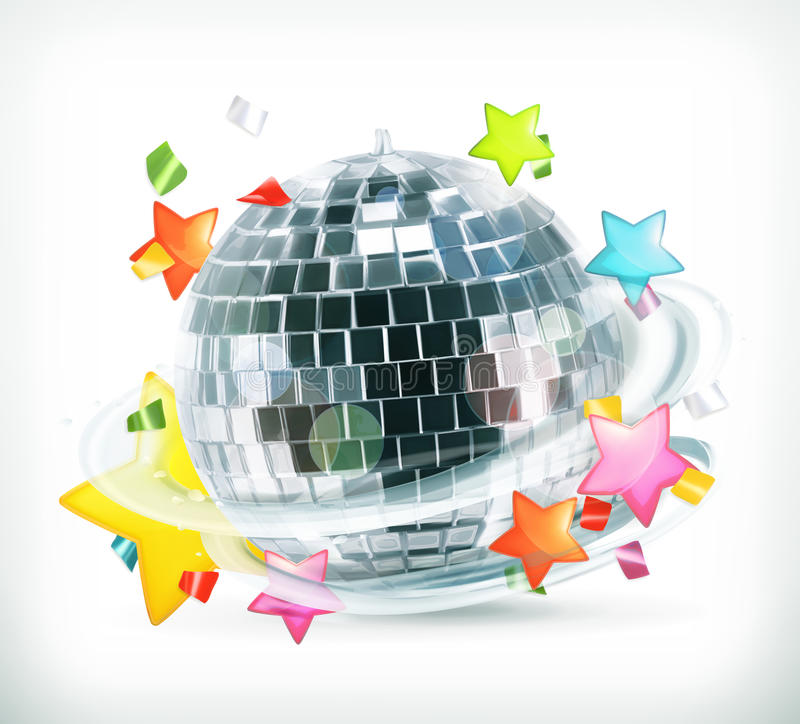 Party, stars and disco ball vector illustration