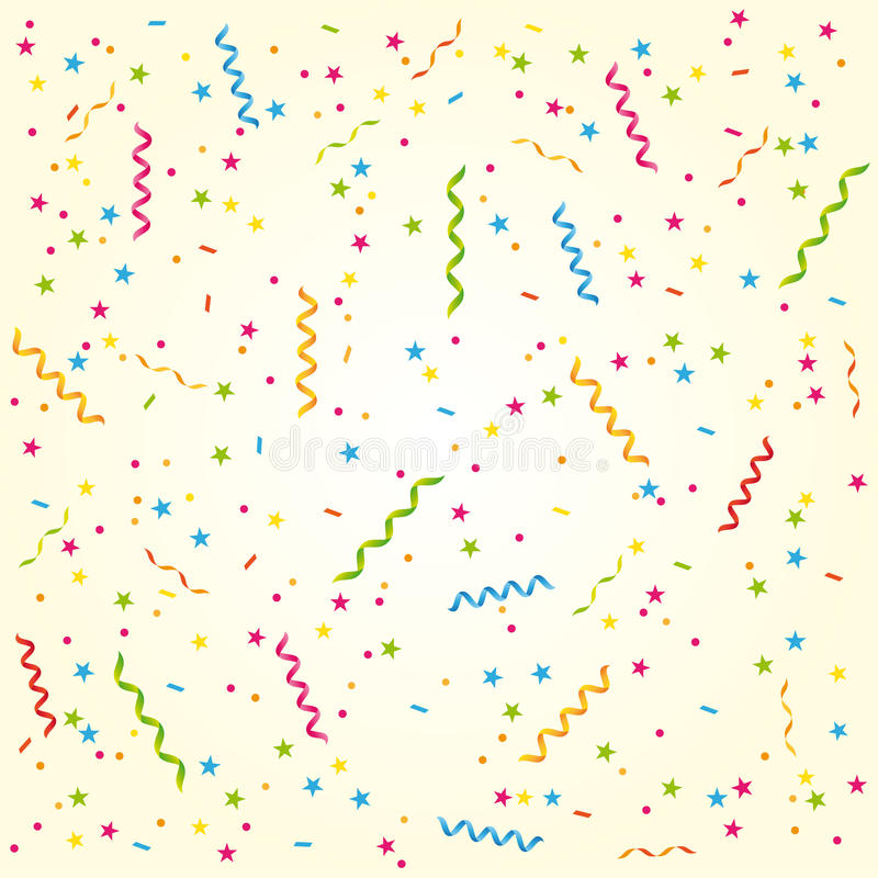 Free Party Streamers And Confetti. Sweet Birthday Card Or Celebration Background. Stock Photography - 41475062