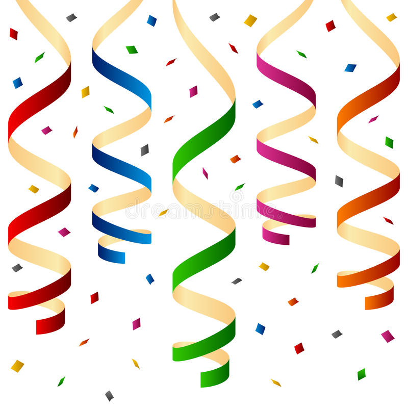 Party Streamers and Confetti. Colorful party streamers and confetti, isolated on white background. Eps file available