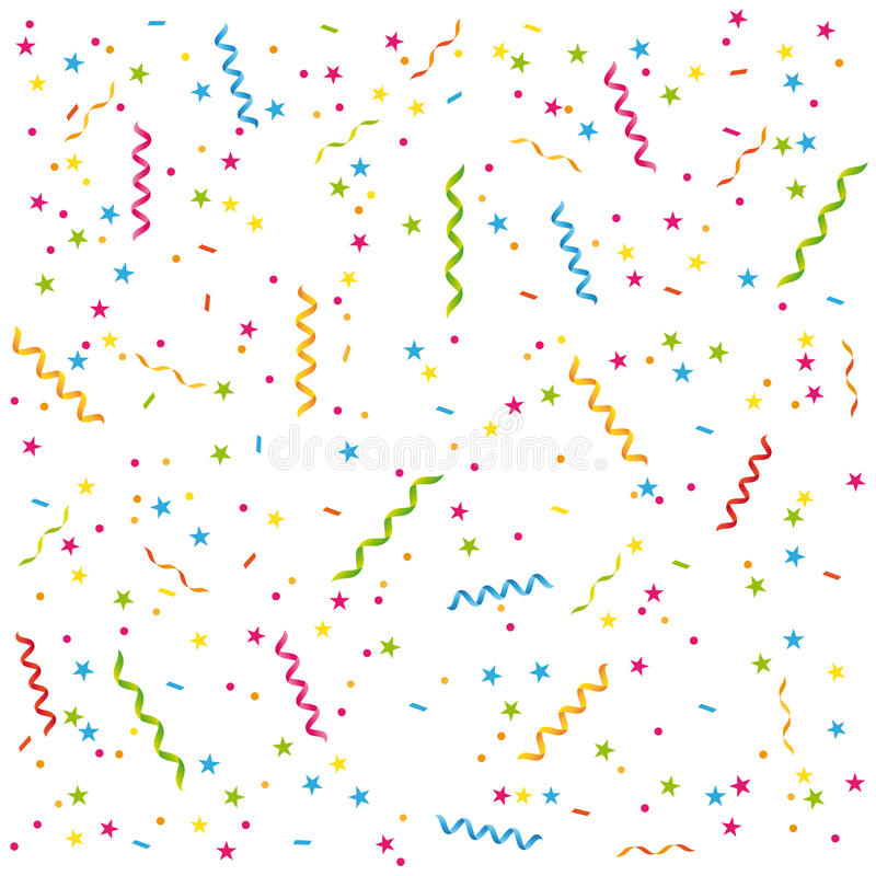 Party streamers and confetti background. stock illustration